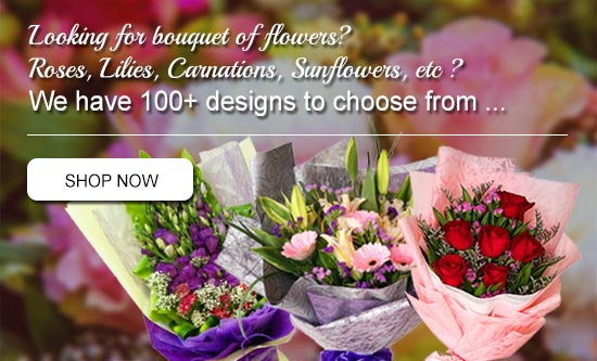Hand Bouquet | Roses, Lilies, Carnations, Sunflowers, Orchids, Gerberas | Myflower.my